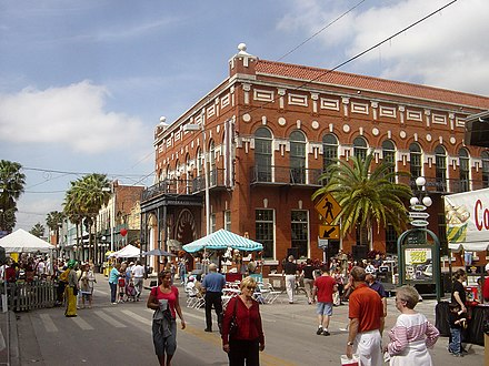 A street festival on Ybor City's famous 7th Avenue in front of the historic El Centro Espanol de Tampa YborCityTampaFL02.jpg