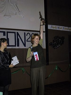 Science fiction and fantasy in Poland - Anna Brzezińska at the Janusz A. Zajdel Award ceremony at Polcon 2001 in Katowice.