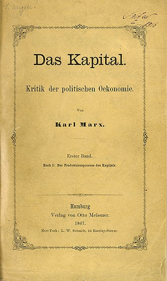 The first volume of Marx's Das Kapital Zentralbibliothek Zurich Das Kapital Marx 1867.jpg