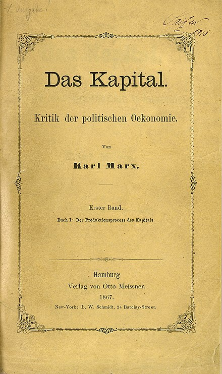 Capital: Critique of Political Economy, by Karl Marx, is a critical analysis of political economy, meant to reveal the economic laws of the capitalist mode of production.