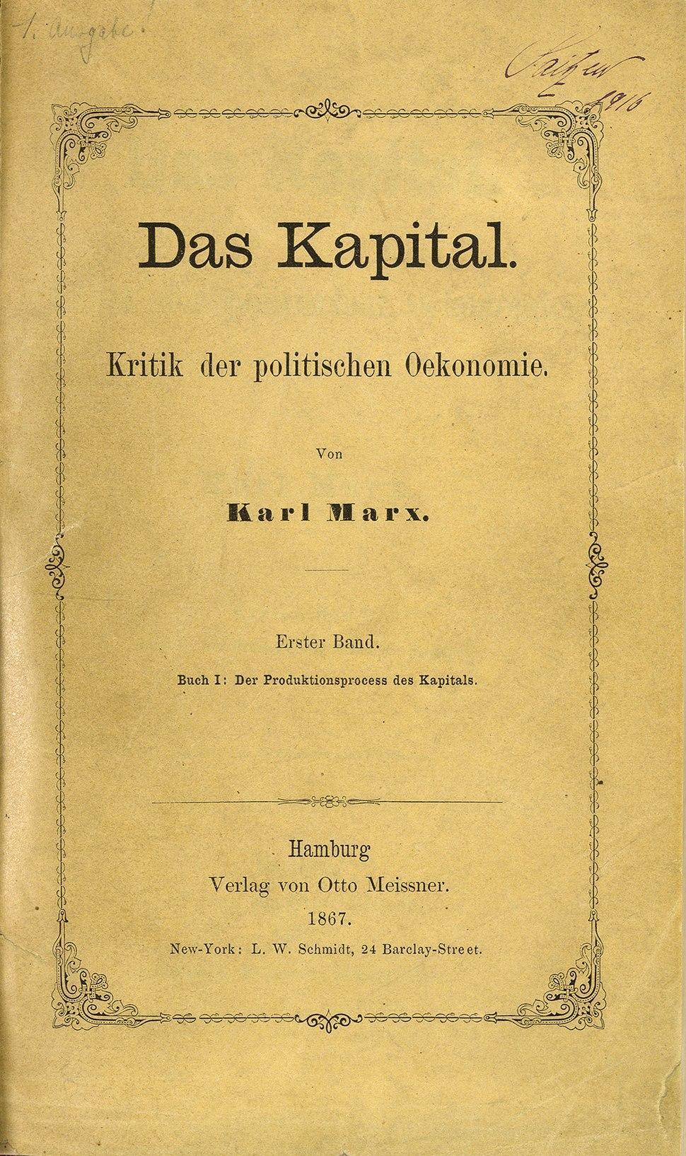 Zentralbibliothek Zürich Das Kapital Marx 1867