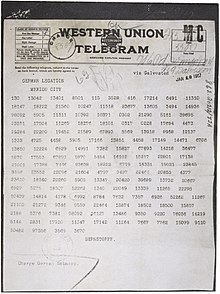 Zimmermann Telegram Diplomatic cable - Wik...