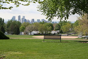 Chaffee Park, Denver - A view towards downtown Denver from Zuni Park in the Chaffee Park Neighborhood.