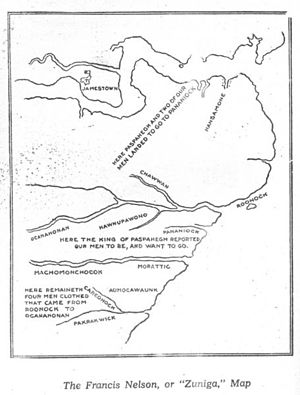 Jamestown supply missions - Zuniga map of the Jamestown area, probably derived from Smith's 1608 sketch
