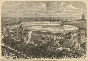 Jardin des Champs-Élysées - The Palace of Industry, built for the 1855 Paris Exposition, was designed to be bigger than The Crystal Palace in London.  It stood until 1897, when it was demolished to make room for the Grand Palais.