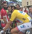 Étape 1 Tour de l'Ain 2017 (Trévoux) - Johann Le Bon (maillot jaune) et Geoffrey Soupe.JPG