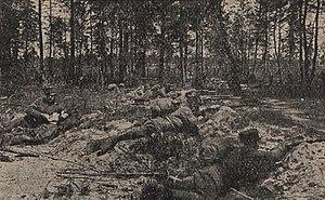Żołnierze 4 Pułku Piechoty w czasie walk (I wojna światowa)