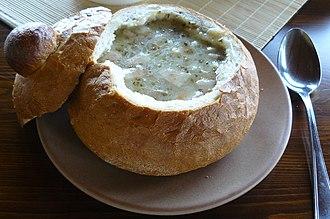 West Slavic fermented cereal soups - Image: Żurek w chlebku