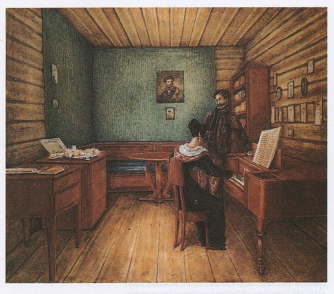 S.G. Volkonskiy with his wife in a cell in the Peter prison. Drawing of NA Bestuzhev, 1830.