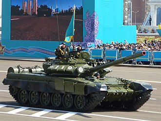 Defender of the Fatherland Day (Kazakhstan) - A T-72 tank during a Defender of the Fatherland Day parade in 2015.