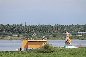 Kaveri - A temple and an effigy of Aiyanar, by the Kaveri river in Tamil Nadu