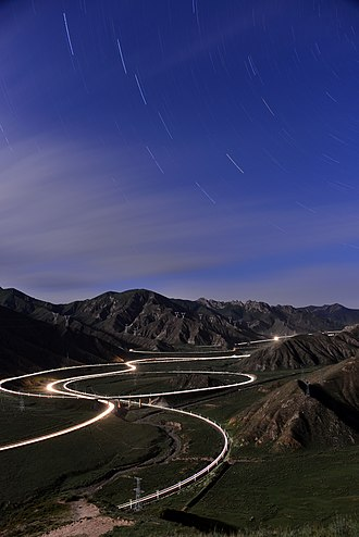 Spiral (railway) - Guanjiao Spiral on Qinghai–Tibet Railway at night, it was replaced by a 32-km long tunnel in 2014
