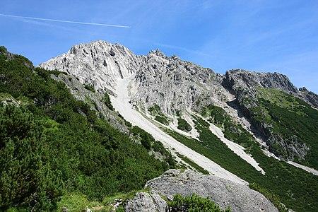 Hintere and Vordere Platteinspitze, mountains in Lechtal Alps in Austria.