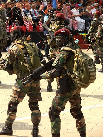 10 Paratrooper Brigade (Malaysia) - An operator of 10 Paratrooper Brigade with Colt M4A1 with M203 grenade launcher and Aimpoint Micro-T red dot sight standby for demonstrated specialised combat operations during the National Day Parade of 2013 at National Square, Kuala Lumpur, Malaysia.