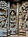 13th century Keshava Hindu temple relief with membranophone musical instrument vadya, Somanathpur India.jpg