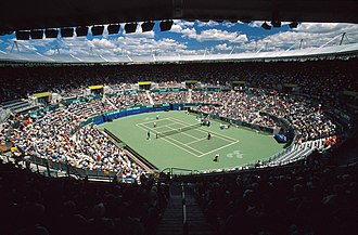 Sydney Olympic Park Tennis Centre - Image: 141100 Wheelchair tennis Olympic Tennis Arena view 3b 2000 Sydney match photo