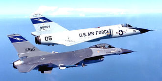 Florida Air National Guard - 125th Fighter-Interceptor Group F-106A and F-16A in flight, 1987