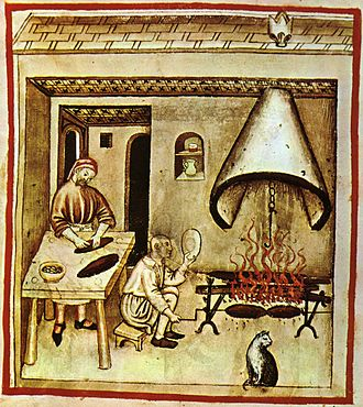 Outline of food preparation - Roasting, medieval illuminated manuscript (Tacuina sanitatis casanatensis 14th century)