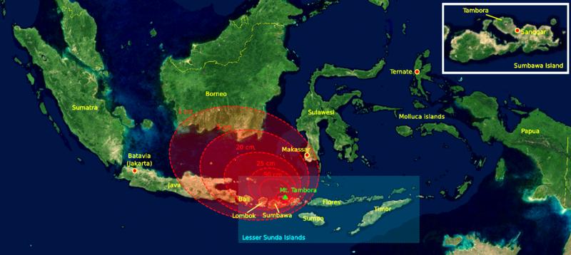 Elements qui influencent le climat, les volcans. 800px-1815_tambora_explosion_B