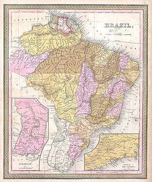 Independence of Paraguay - Map of Paraguay in 1850