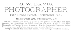 1883 G W Davis photographer Richmond Virginia advert.png