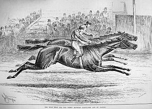 Harvester (horse) - The finish of the 1884 Derby from the Illustrated London News. Harvester is on the near side
