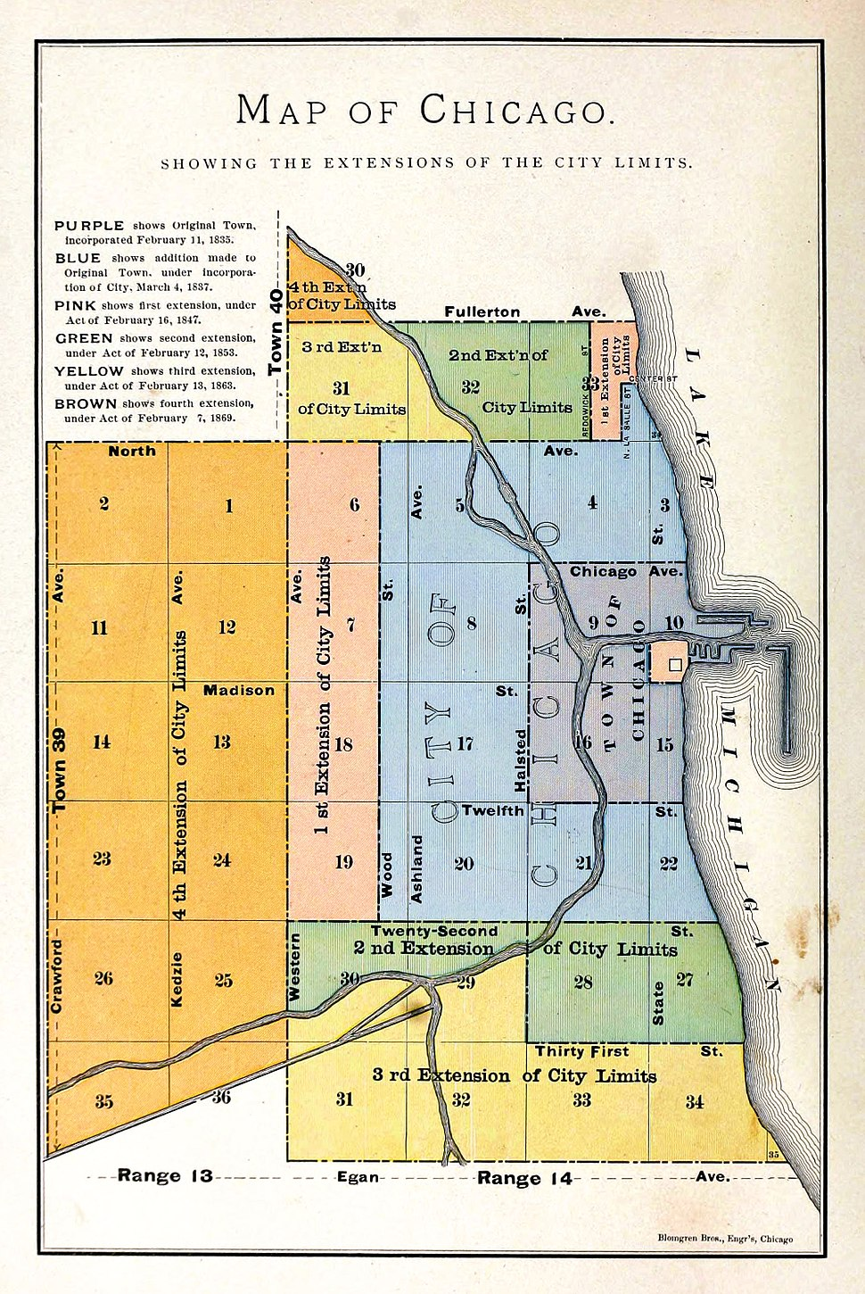 1884 map of Chicago showing extensions to city limits