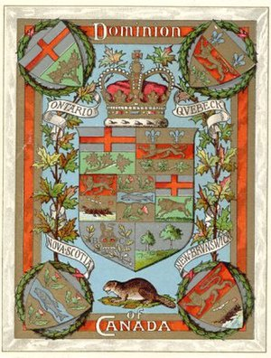 Arms of Canada - Image: 1905 Canadian coat of arms postcard