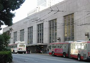 "San Francisco Transbay Terminal - A 2008 view of the facade of the now-demolished 1939 ""Transbay Transit Terminal"" which was designed by Timothy L. Pflueger"