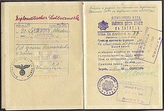 Mladen Lorković - 1941 German Diplomatic visa issued to Dr. Mladen Lorkovic to attend the Anti-Comintern conference in Berlin.