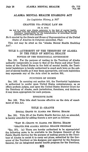 Alaska Mental Health Enabling Act - First page of Alaska Mental Health Enabling Act.