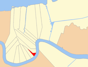 1st Ward of New Orleans - Map shows the 1st Ward's location in Uptown with the Mississippi River to the southeast, the 10th ward to the west, and the 2nd Ward to the north.