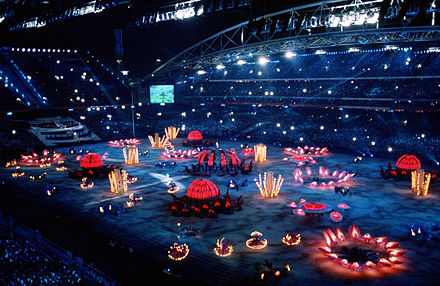 The 2000 Summer Olympics Opening Ceremony at Stadium Australia, on 15 September 2000. 2000 Summer Olympics opening ceremony 1.JPEG