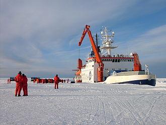 Atka Iceport - Icebreaker RV Polarstern in Atka Bay, serving Germany's Neumayer-Station III