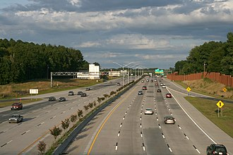 Interstate 85 in North Carolina - I-85 passing through Durham