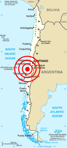 Map of Chile from CIA World Factbook with the epicenter of 2010 Chile earthquake marked. Image: CIA World Factbook.