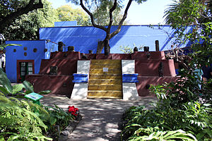 Frida Kahlo Museum - Pyramid in the courtyard displaying pre-Hispanic pieces