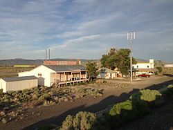 2014-06-10 19 15 22 Buildings in Oasis, Nevada viewed from Interstate 80 and Alternate U.S. Route 93.JPG