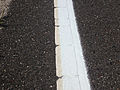 2014-08-29 13 04 34 Fresh white road paint laid on top of old and weather white road paint on Tabernacle-Chatsworth Road (Burlington County Route 532) in Woodland Township, New Jersey.JPG