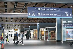 2014 at Reading station - shops on concourse bridge (east side).JPG
