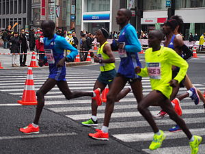 2015 Tokyo Marathon - The leading men with pacemakers during the race