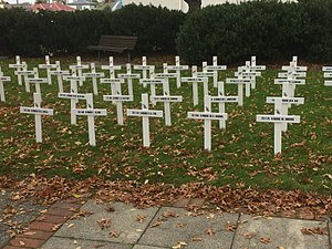 SS Marquette (1897) - The first two rows of crosses commemorate the ten SS Marquette nurses who died