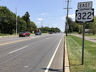Harrison Township, New Jersey - U.S. Route 322 eastbound in Harrison Township
