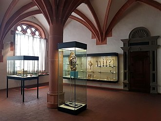 Trier Cathedral Treasury - View of the Treasury. On the left the showcase with the Egbert shrine