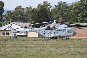 227 a Croatian Mil Mi-171sh armed with rocket pods and with KFOR markings.jpg