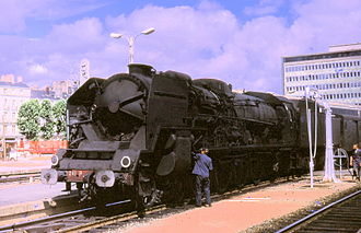 SNCF Class 241P - 241.P.17 at Nantes station during the class's last regular summer of operation, August 1969.
