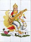 2 Hindu deity Sarasvati Saraswati on ceramic tile in Munnar Kerala India March 2014.jpg