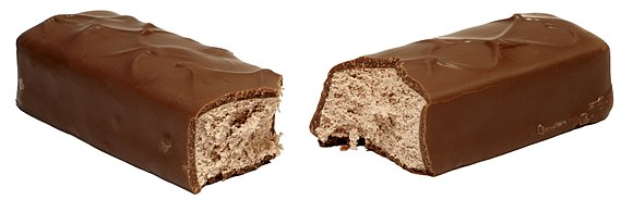 3 Musketeers split in two, exposing the fluffy filling.