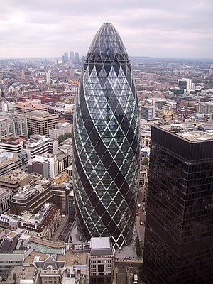 30 St Mary Axe - Aerial view showing complete structure