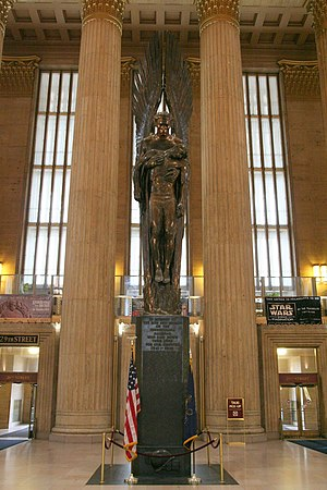 Walker Hancock - Angel of the Resurrection (1950-52), Pennsylvania Railroad World War II Memorial, 30th Street Station, Philadelphia, Pennsylvania.